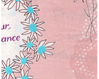 HALF YARD Lecien - Atelier Akiko - Bonjour Paris in Blush/Beige 31095-10 - Floral, Daisy, Wreath Japanese Imported Fabric