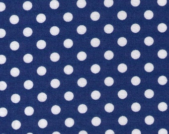 HALF YARD - Cosmo Textile Blue with White Polka Dots CR8831-12N - Japanese Import Fabric