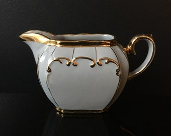 Sadler Cube Creamer Cream Blue Cube With Gold Trim Pattern 1922 Goes With Sugar and Teapot