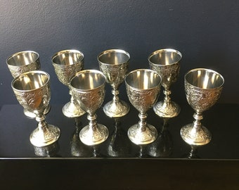Silver Plated Antimony Mini Goblets Corbell & Co Set of 8 Ornate Design Small Liqueur Shot Cordial GLass