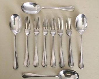 Martin Hall & Co Silver Plate Victorian Spoons and Forks Rattail Rat Tail Pattern 1800s Sheffield England