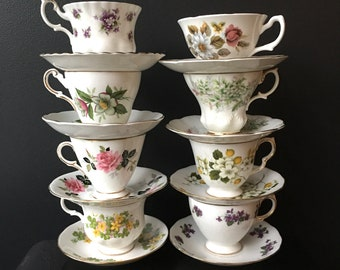 Lot of 8 Tea Cups and Saucers Floral Gilt Edge Matched English Bone China Royal Albert Queen Anne Windsor Regency Royal Grafton Teacups