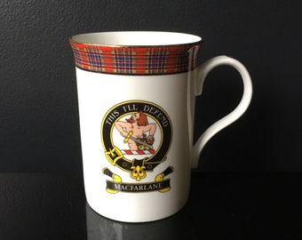 Clan MacFarlane Coffee Mug Clan Crest Motto This I'll Defend Tartan Gilt Edge Fine Bone China Scottish Scotcrest Key to the Clans