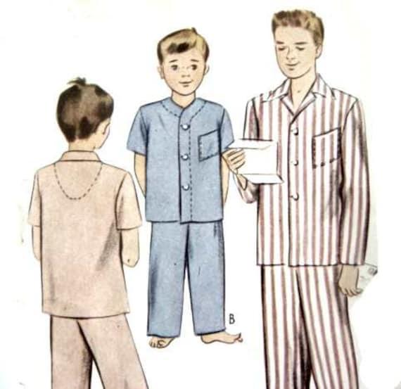 Vintage 40er Nähen Muster jungen Pyjamas Schlafanzug PJs