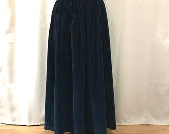 Ralph Lauren Cotton Velvet Maxi Skirt Polo Maxi Length Dark Blue Midnight Blue Stylish Designer Holiday Winter