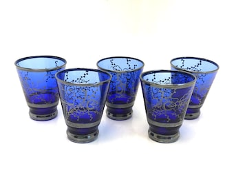 Cobalt Blue Glass Shot Glasses With Silver Overlay Art Deco Art Nouveau Liqueur Set