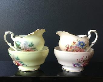 Paragon China Cream and Sugar Sets Floral Motif Pink Yellow Fine English Bone China