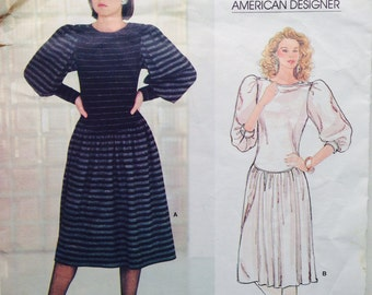 Vintage Vogue American Designer Sewing Pattern Adri Dress Pouf Sleeves Pullover Knits 32 or 33 bust