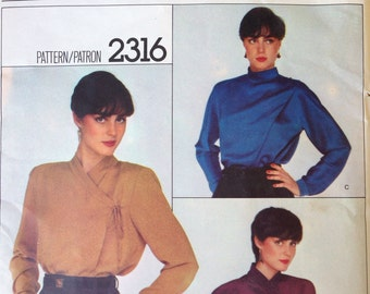 Uncut Versace Vogue Designer Original Blouse Pattern Asymmetrical Front Wrap Top 36 bust