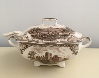 Johnson Bros Old England Castles Soup Tureen With Ladle English Antique Vintage China England Windsor Castle Oxford
