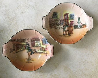 Royal Doulton Dickens Ware Lug Handle Cereal Bowls Sam Weller Mr Pickwick Charles Dickens Pickwick Papers 1908 - 1959