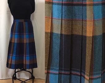 Vintage 80s Pleated Tartan Skirt Snob London Kilt Side Buttons Blue Brown Plaid British Punk Retro Cool