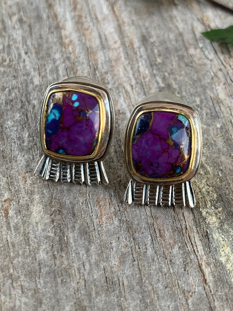 Artisan Made 22kt Gold set Mohave Turquoise in Sterling Silver Earrings
