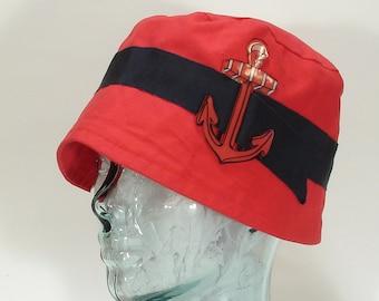 The  Savoy Hat Art Deco Flapper Bucket Summer Gatsby Nautical Ladies Hat  Medium 7 1/4 (58 cm)