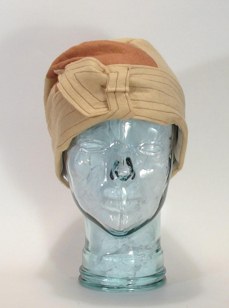 Flapper Gatsby Art Deco 1928 Reproduction Wool Felt Winter Ladies Toque Hat Size 7