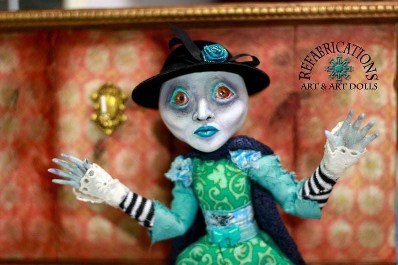 MOONLIT STROLL  Custom Clay Moon Lady Sculpted Art Doll by image 0
