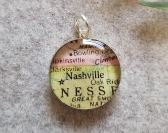 15mm Round Destash Vintage Map Pendant Sterling Silver Resin ATLANTA Georgia