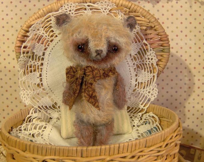 Antique style mini  Mohair Panda Bear Primitive Teddy 5 inches by s reetz