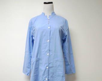 light blue button down . mandarin collar . shirt dress . large