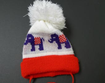 b25d46dd583f9 60s 70s red white and purple pom pom knit hat for kids