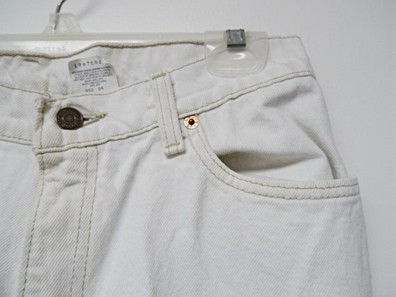 Levi/'s 512 slim fit tapered leg white denim jeans made in USA size 13 MED
