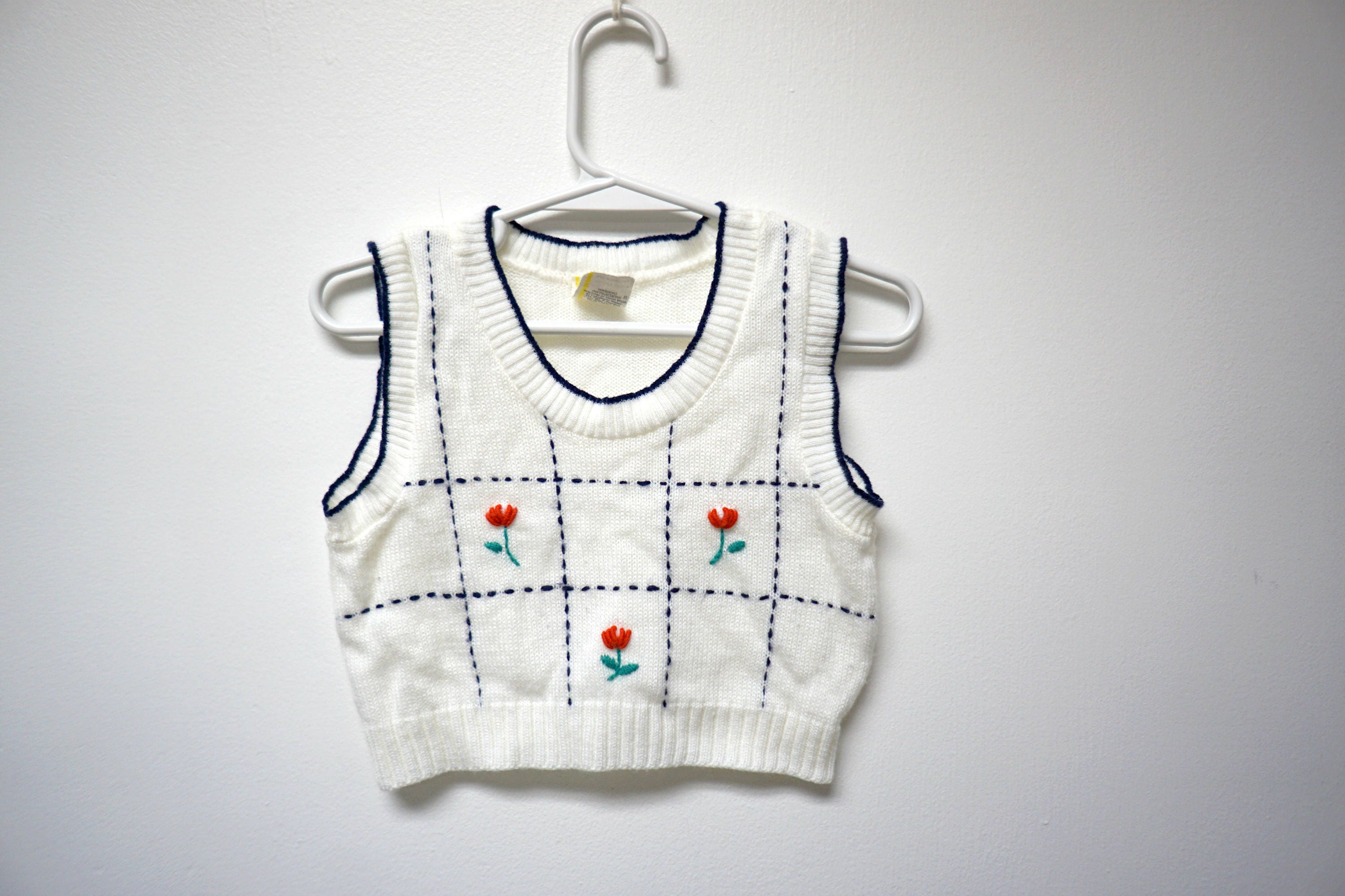 5ea6bffa0b65 Tulips . embroidered white sweater vest . toddler size 2