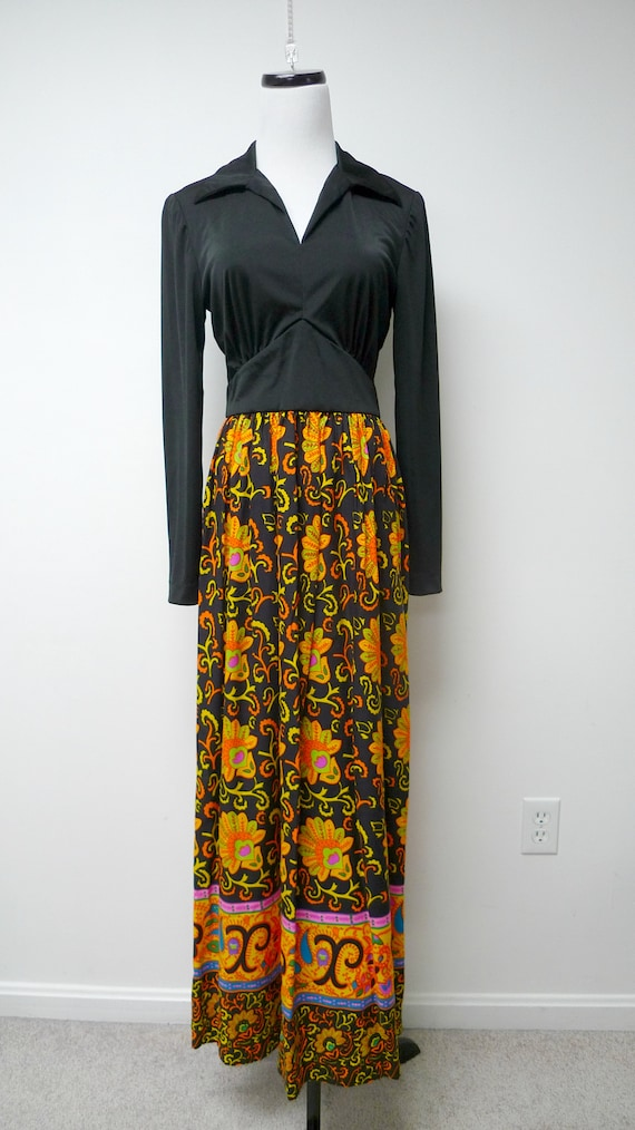 60s long sleeve maxi dress . fits a small to medi… - image 2