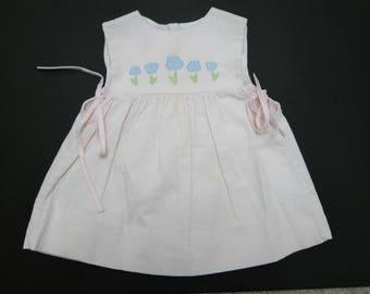 Lynley Designs   .   floral applique  pink corduroy jumper smock   .  size 3T   .   made in USA