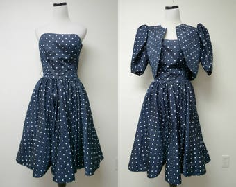 Victor Costa for Saks Fifth Ave . 80s blue and white dotted 2-piece dress . size 10 . crafted with pride in USA