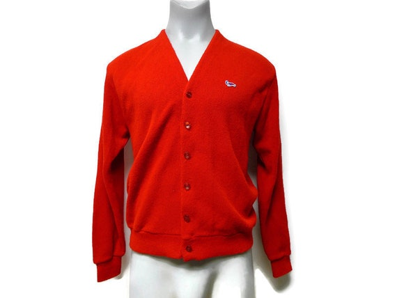 Crown Sportswear . 60s men's red cardigan . size X