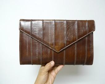 70s 80s  brown faux leather clutch / shoulder bag
