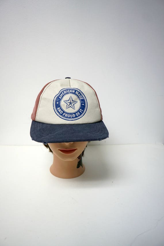 American Made and Proud of It . tri color cap . leather strap . made in USA