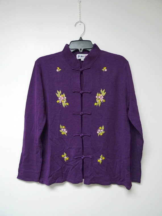 Yue Hwa . floral embroidered . purple silk . Orien