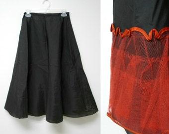 "Florell . black nylon A-line slip / petticoat . high waist 26"""
