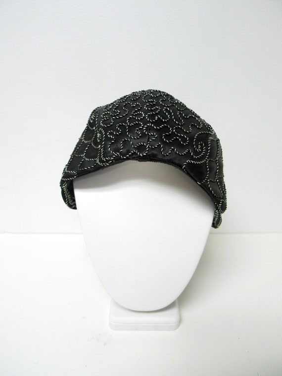 1940s black and silver cord embroidered hat with … - image 1