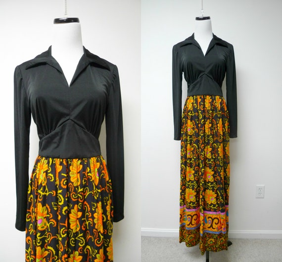 60s long sleeve maxi dress . fits a small to medi… - image 1