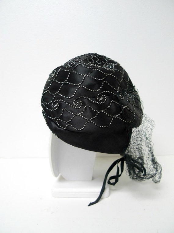1940s black and silver cord embroidered hat with … - image 2
