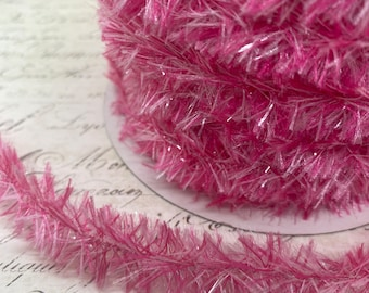 Pretty in Pink Vintage Style Wired Tinsel Roping Trim