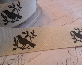 Natural Cotton Canvas 3/4 inch wide with Birds and Branches