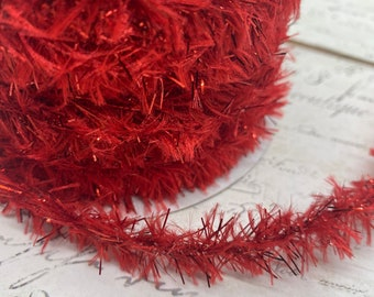 Red Vintage Style Tinsel and Chenille Roping Trim