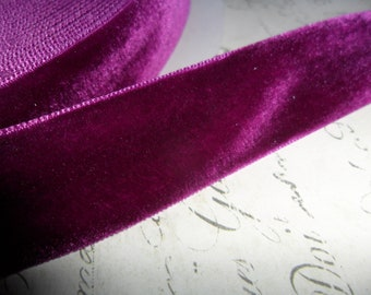 7/8 wide Aubergine Velvet Ribbon