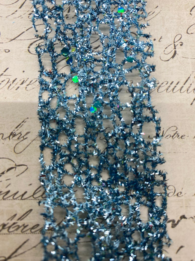 1.5 inch Light Blue Disco Glitter Web Mesh