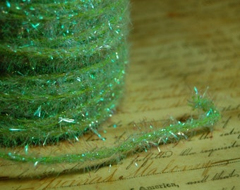 Spring Green Sugared Vintage Style Wired Tinsel Roping Trim