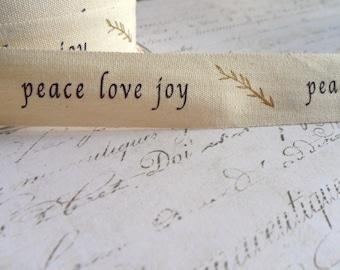 Natural Cotton Canvas 3/4 inch wide, Peace Love Joy