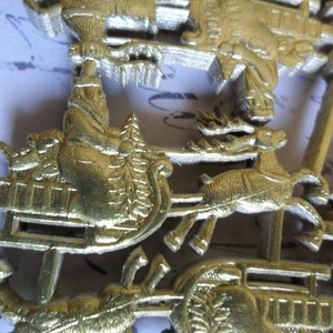 Gold Embossed German Dresden Scrap Christmas Bells approx 2 inches across