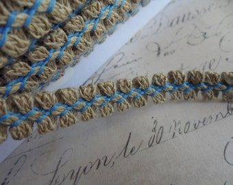 Natural Linen Looped Braid with Decorative Nordic Blue Stitching approx 3/8 inch wide