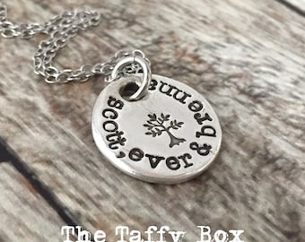 Family Tree Hand Stamped Name Necklace - Silver Pendant