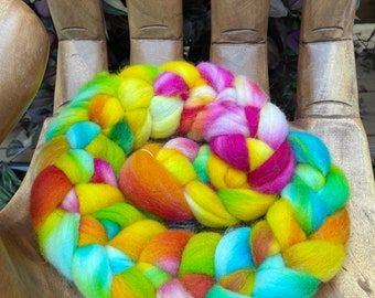 Petals Hand Dyed Falkland Fiber top roving spinning felting