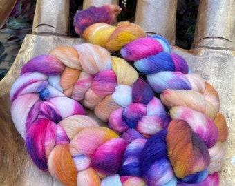 Cornucopia  Hand Dyed Rambouillet Fiber, top roving spinning felting