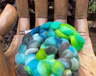 Pondlife,  Hand Dyed Rambouillet Fiber, top roving spinning felting